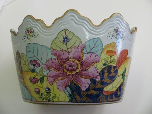 Vtg Mottahedeh Porcelain Cachepot Tabacco Leaf Pattern | eBay