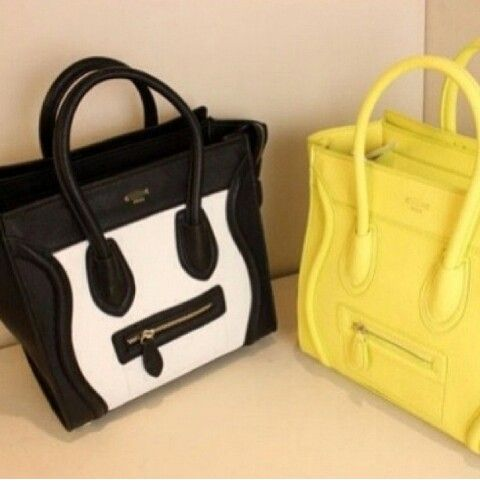 Celine Black/white and Yellow Bag