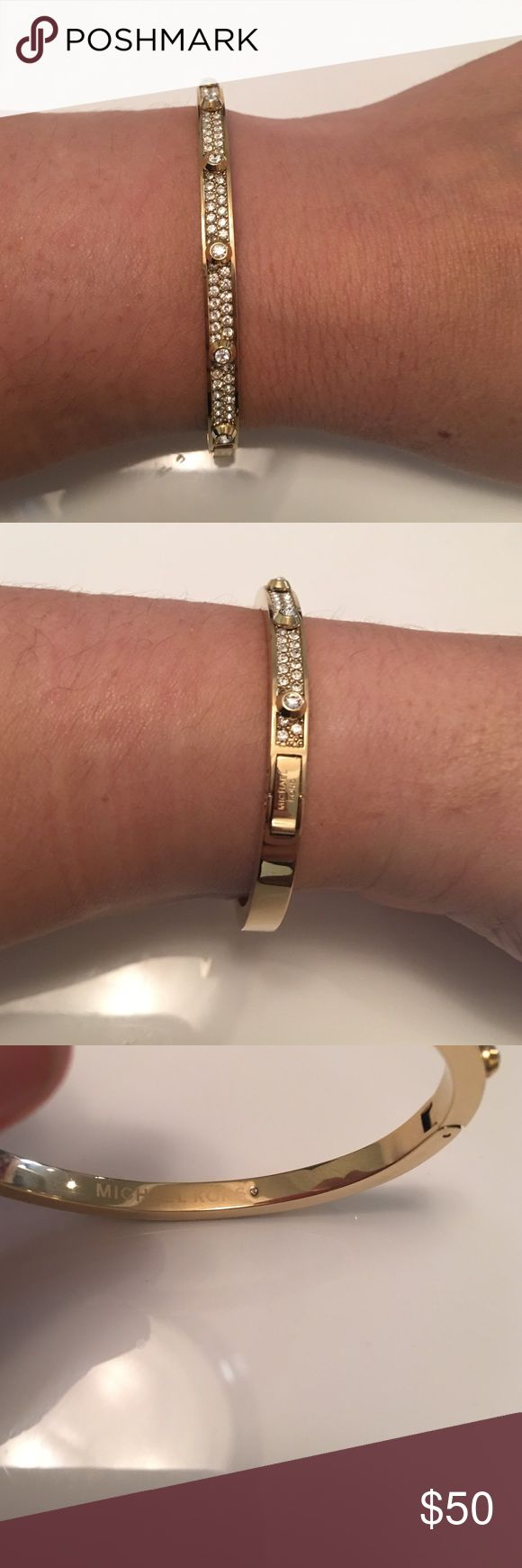 Michael Kors Gold crystal bracelet Michael Kors crystal bracelet. Stainless steel with ion plated in gold tone.No trades. Michael Kors Jewelry Bracelets