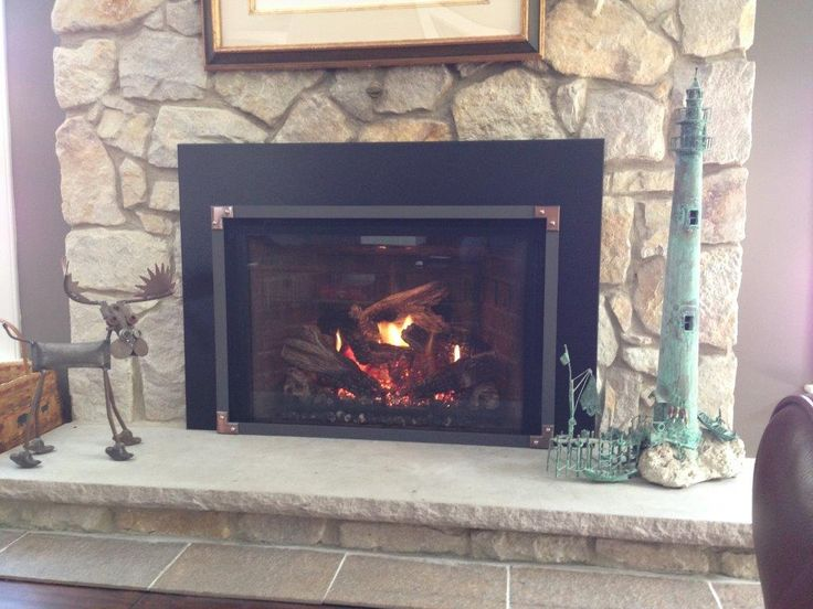 Mendota Full View 44 Gas Fireplace Insert with Vintage Iron Grace Front,  copper cornices with gun metal rivets by Rettinger Fireplace   Pinterest    Metals, ... - Mendota Full View 44 Gas Fireplace Insert With Vintage Iron Grace