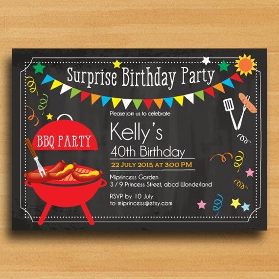 BBQ Birthday Invitation, Chalkboard Backyard, surprise ...
