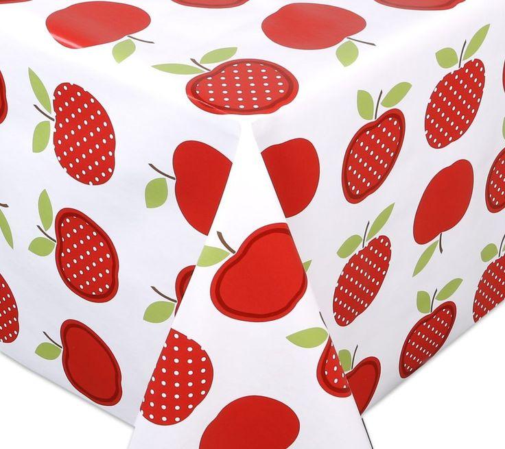 Wachstuch Tischdecke Meterware abwischbar, Glatt Apfel Rot, Länge wählbar