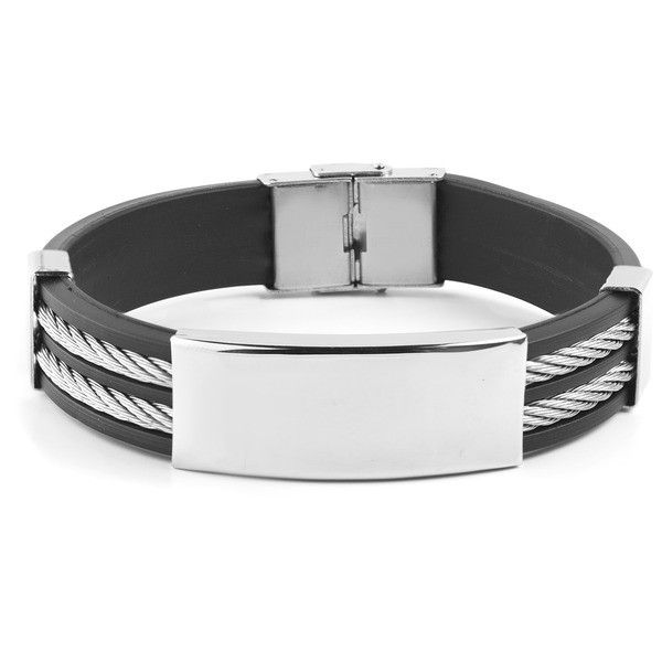 Men's West Coast Jewelry Men's Stainless Steel Cable Inlay Rubber ID... ($13) ❤ liked on Polyvore featuring men's fashion, men's jewelry, men's bracelets, jewelry & watches, silver, mens id bracelet, mens cable bracelets, mens rubber bracelets, mens stainless steel bracelets and mens watches jewelry