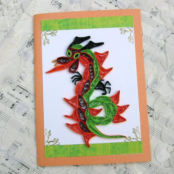 handmade card ... quilled image ... Gorgeous Year of the Dragon card!