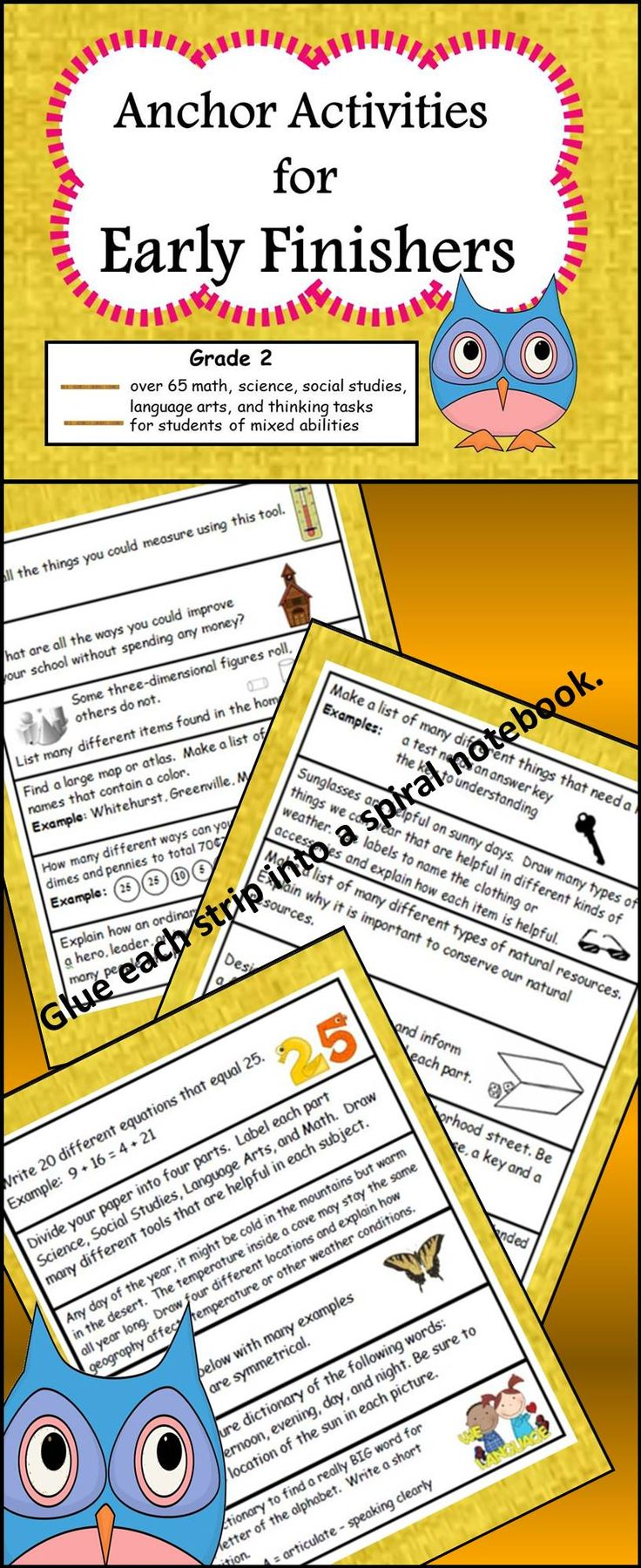 These thought provoking anchor activities are the perfect tool if you are looking for meaningful tasks from your 2nd grade Early Finishers.  Anchor activities for other grades and subjects can be found on www.teacherspayteachers.com/Store/Dazzle-On-A-Dime