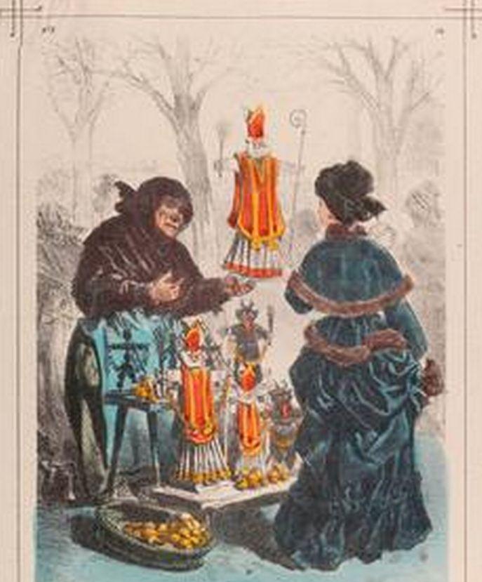 1872 - Straat verkoop tijdens Sint Nikolaas en Krampus