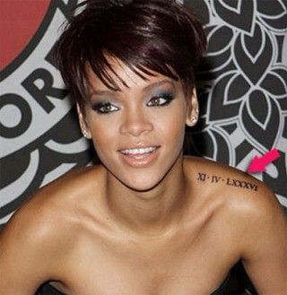 Rihanna shows off the date '14.11.1986' in Roman numeric on her left shoulder. It is the birth date of her best friend Melissa. Melissa also got the same tattoo inked with the birth date of Rihanna.