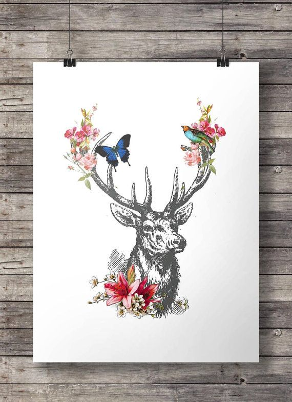 Vintage deer engraving - deer flower garland printable - Instant download
