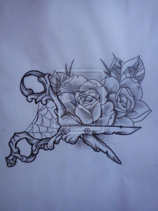scissors tattoo | Scissors and roses tattoo by ~Malitia-tattoo89 on deviantART