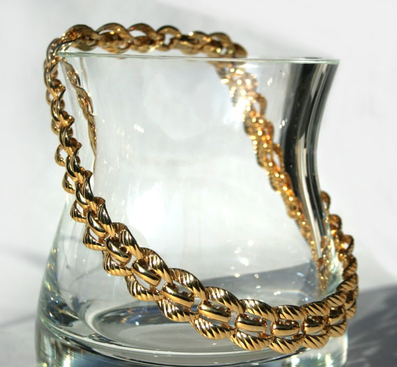 Vintage 80s Thick Gold Chain Statement Choker Necklace Signed MONET Interlocking Links