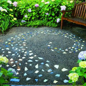 Garden Tiles Ideas ikea decking squares for using in the bathroom with rocks under and around the clawfoot Playful Paving