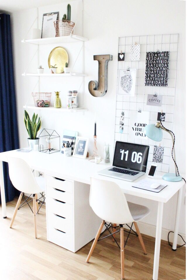 I love this space!! Perfect version of work and play. But I would add an Alex drawer to substitute as legs or one and then then the 9 drawer on one side or a floating bookshelf for decor