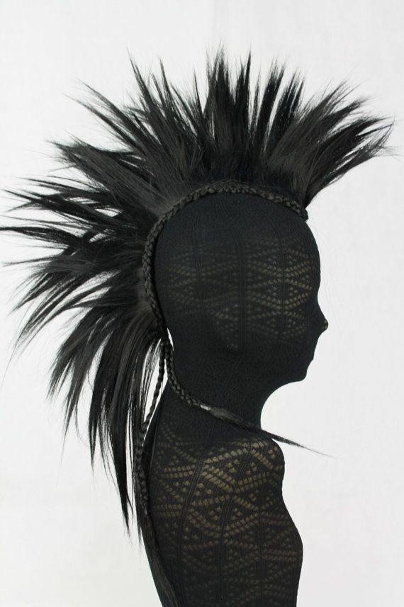 Jet Black 100% Human Hair Mohawk Hair Pieces. by TWODOTSHAIR