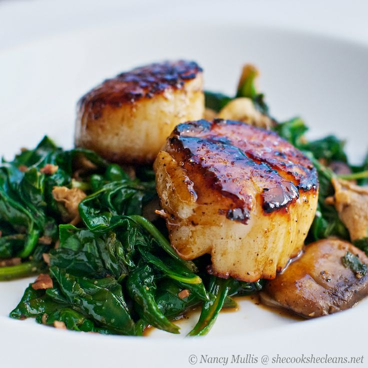 Seared Scallops with Apple Cider-Balsamic Glaze! Protein: scallops and bacon, Fat: butter, Carbs: spinach, mushrooms.