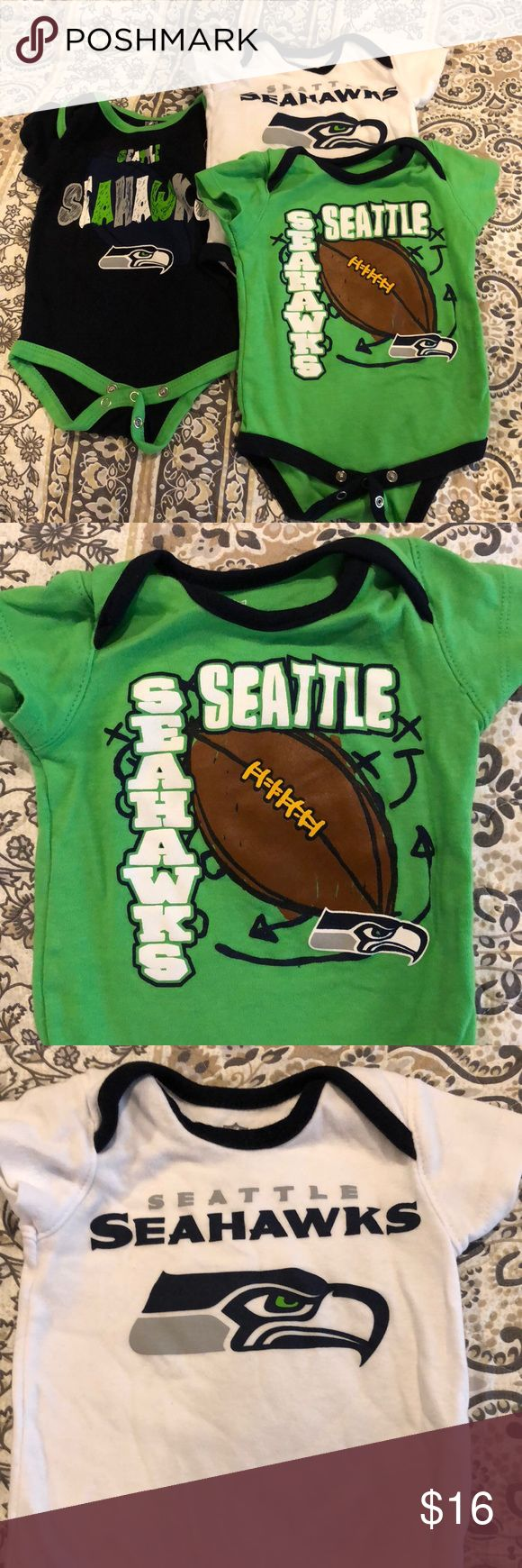 NFL Seattle Seahawks 3-pack onesies Only worn once - 0/3 month Newborn size (runs big so can fit up to 6 month)   Official NFL Football Seattle Seahawks branded! NFL One Pieces Bodysuits