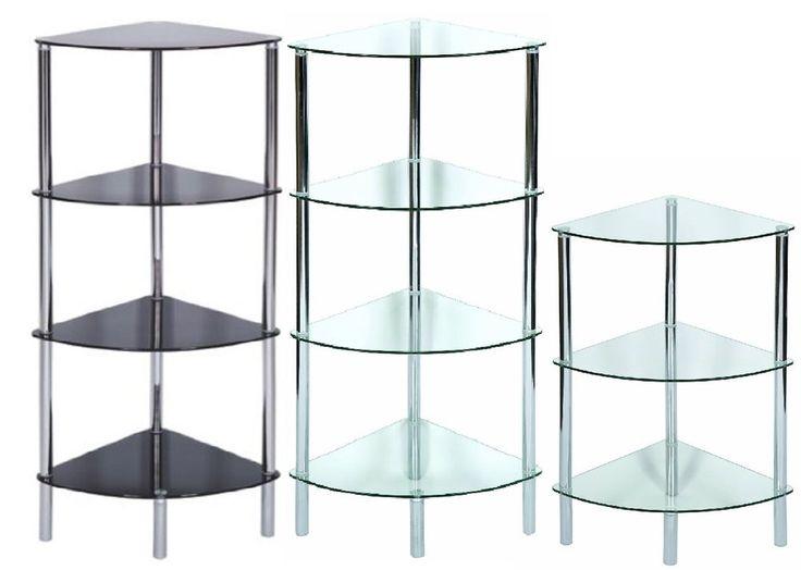 Standing Corner Shelving Unit Display Stand Clear/Glass Black&Chrome Frame Table #Corner #Shelving #Table