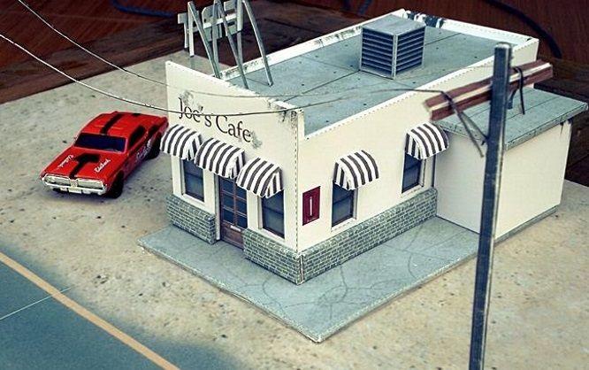 Papermau Joe S Cafe Diorama Paper Model In 1 64 Scale By Dioramau Paper Models Free Paper Models Old Stone Houses