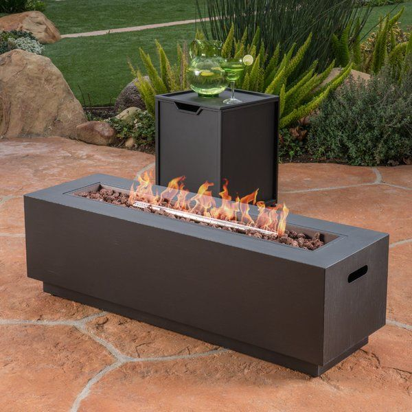 Add Some Warmth To Your Summer Nights With This Fiona Outdoor Cast Iron Propane Fire Pit Table Perfect Rectangular Fire Pit Propane Fire Pit Table Gas Firepit