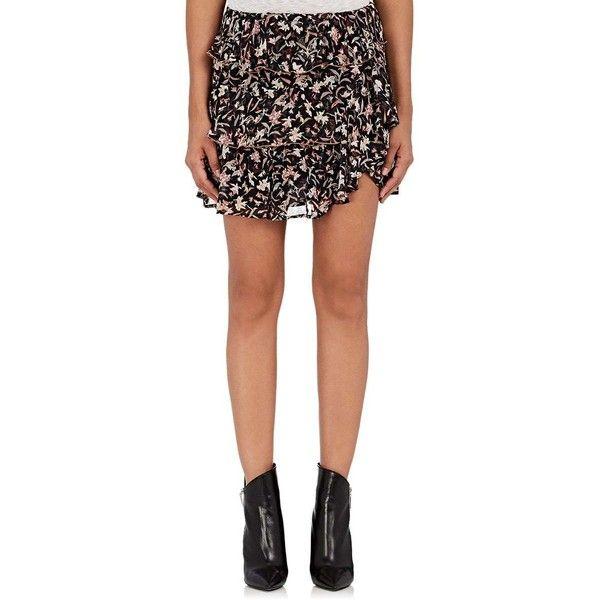 IRO Women's Brooks Floral Georgette Miniskirt ($230) ❤ liked on Polyvore featuring skirts, mini skirts, black, tiered ruffle skirt, short mini skirts, elastic waist mini skirt, short floral skirt and elastic waist skirt