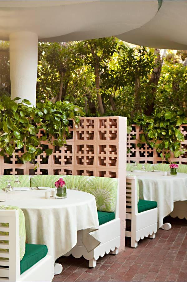 beverly hills hotel hollywood regency decor outdoor patio garden - Beaded Inset Hotel Decoration