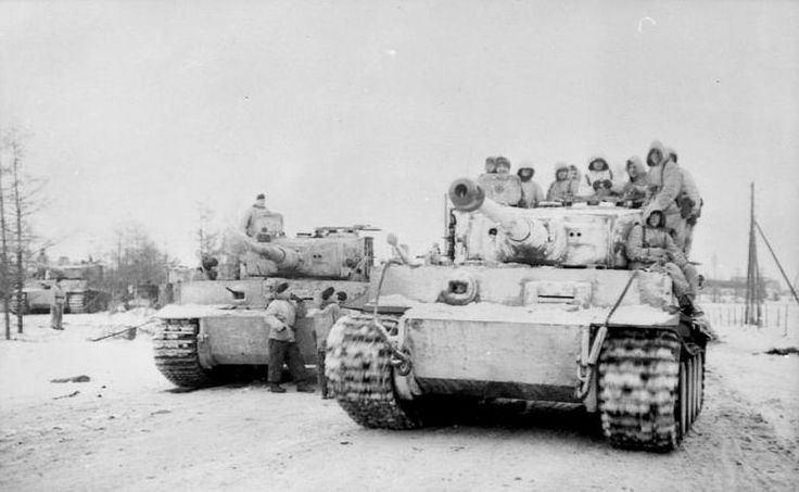 """Panzerkampfwagen VI. """"Tiger I""""s of middle or late production belonging to 509.schwere Panzer Abteilung near Krivoy Rog , Winter 1943/44. 509.schwere Panzer Abteilung (heavy tank detachment) saw action only on Eastern Front. From September 1943 to May 1945 509.schwere Panzer Abteilung took part in defence of Krivoy Rog ,2nd Battle of Kiev , Operation Bagration (after heavy casualties Abteilung was resupplied with Tiger IIs) , Operation Kondrad III ,Operation Frühlingserwachen and finally…"""
