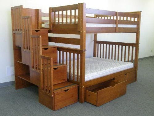 Bedz King Full Over Full Stairway Bunk Bed with 2 Under Bed Drawers, Espresso