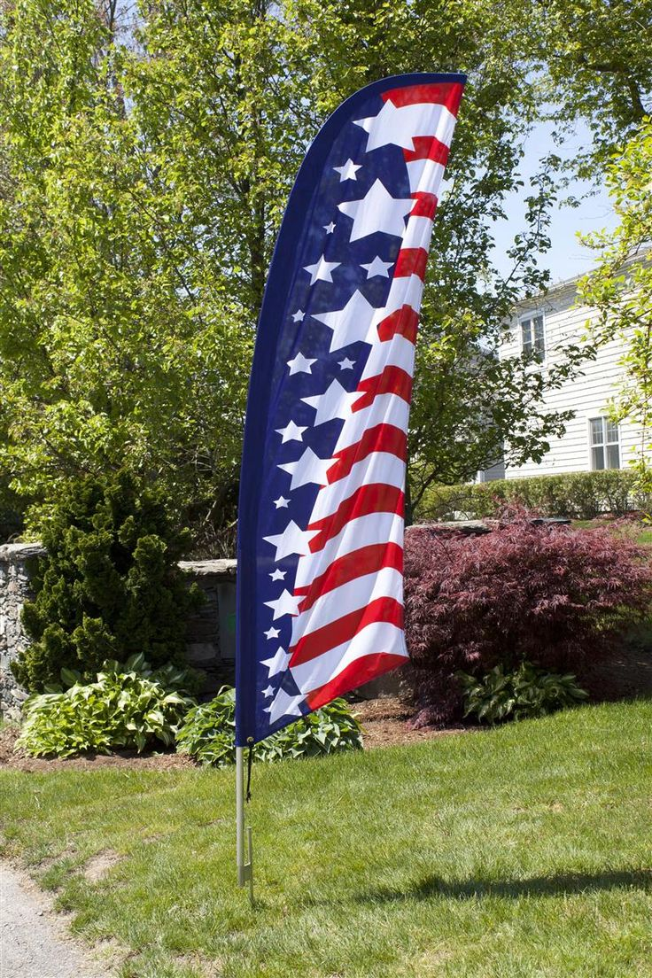 8' Feather Flag with Ground Spike - American Flag Graphic