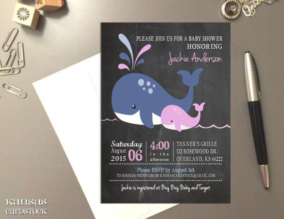 Navy Pink Whales Baby Shower Invitation for by KansasCardstock