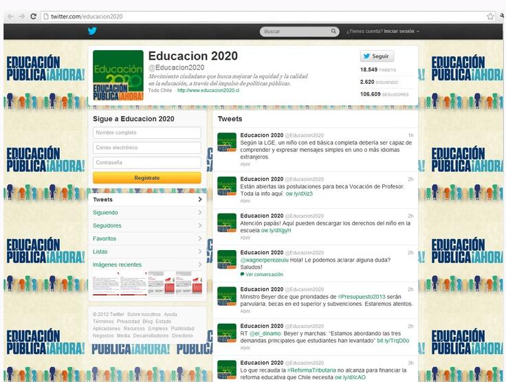 Twitter: http://twitter.com/educacion2020 . El movimiento ciudadano Educación 2020 en su cuenta deTwitter @Educacion2020 presenta 106.609 seguidores, sigue a 2.620 cuentas y tiene a su haber 18.549 tweets.