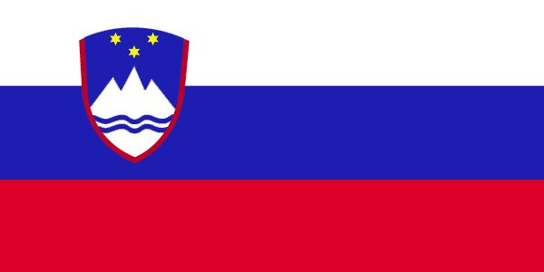 The Slovenia flag was officially adopted on June 24, 1991.         Red, white and blue are traditional Pan-Slavic colors. The Slovenian coat of arms features three gold stars, said to be symbolic of the Duchy of Celje arms. The mountains shown in white are representative of the Alps, and the wavy blue lines across the bottom indicate Slovenia's valuable access to the sea.