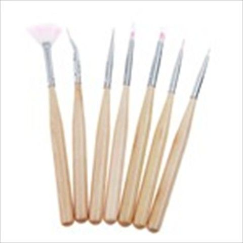 7pcs Professional Nail Art Brushes Nail Care Tool Beauty Item Set for Ladies Girls - Color Assorted