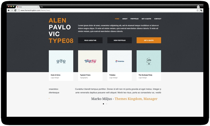 Invo is a Premium Wordpress Theme really cool. It is a perfect theme for running freelance business. Simple communication with client from client area, client invoicing and 2 payment gateways (PayPal and 2Checkout) are functions that make Invo theme ROCKS!