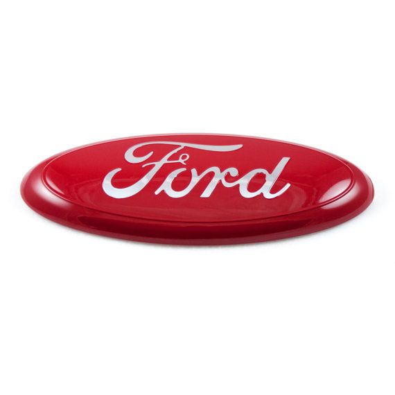 Customize your ride with this classy red and chrome Ford emblem!