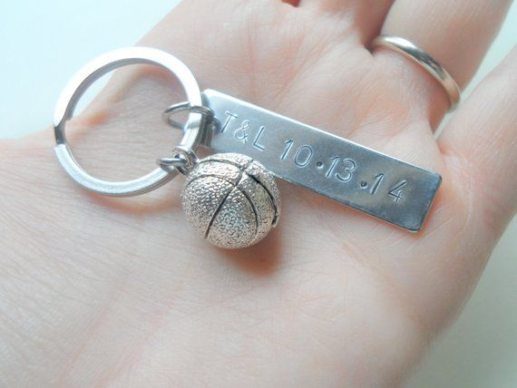 Basketball Keychain, Couples Keychain, Anniversary Key Ring Gift, Date or Initials Hand Stamped, Hus