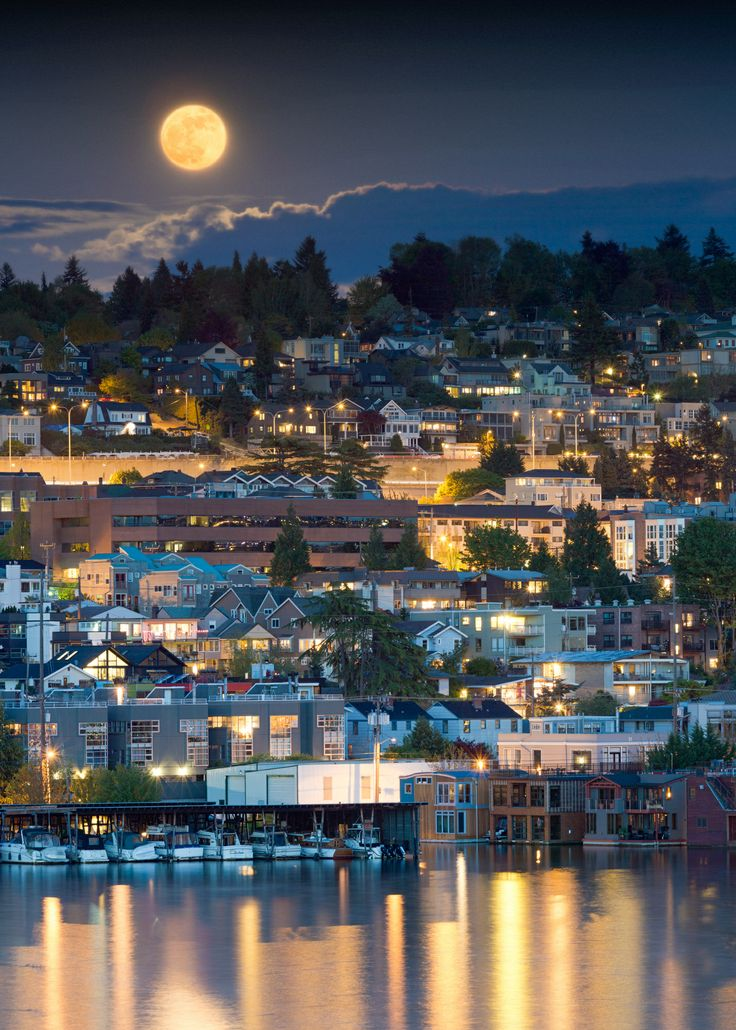 Full moon over Seattle, Washington • photo: Nicole S. Young