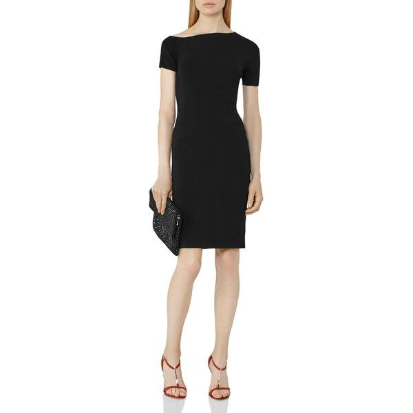 Reiss Palmer Asymmetric Knit Dress ($295) ❤ liked on Polyvore featuring dresses, black, reiss dress, knit dress, reiss and asymmetrical dress