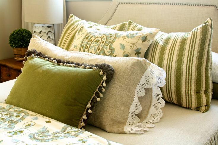 Green Throw Pillow Assortment...love the fabric combination and colors together