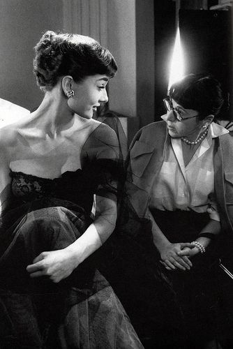 Audrey Hepburn and Edith Head #AudreyHepburn #EdithHead  Per RLK...There was only one Audrey Hepburn, and definitely one designer that was the epitome of Hollywood glamor-Edith Head.