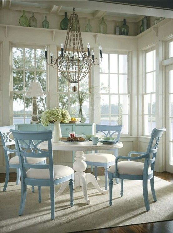 Idea For Kitchen Table.blue Painted Chairs With A White Table! Lovely ~  Beautiful Idea For A Sunroom!