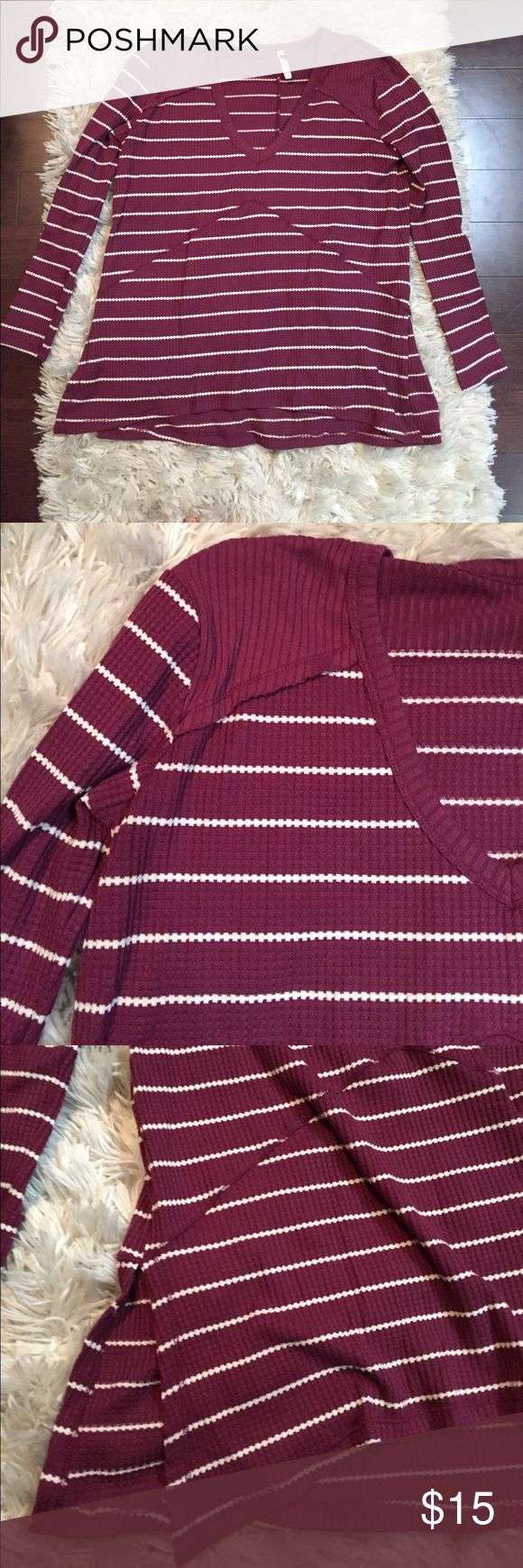 Long sleeve stripe top Slouchy slightly longer in back. Thermal like feel. Cute with jeans and boots for cold weather Tops