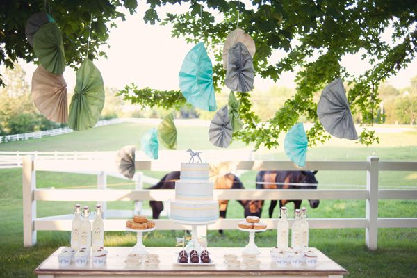 Southern weddings - blue and yellow dessert table