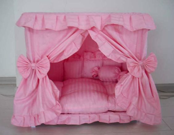 Details about Gorgeous Handmade Princess Pet Dog Cat Bed House + 1 Candy Pillow
