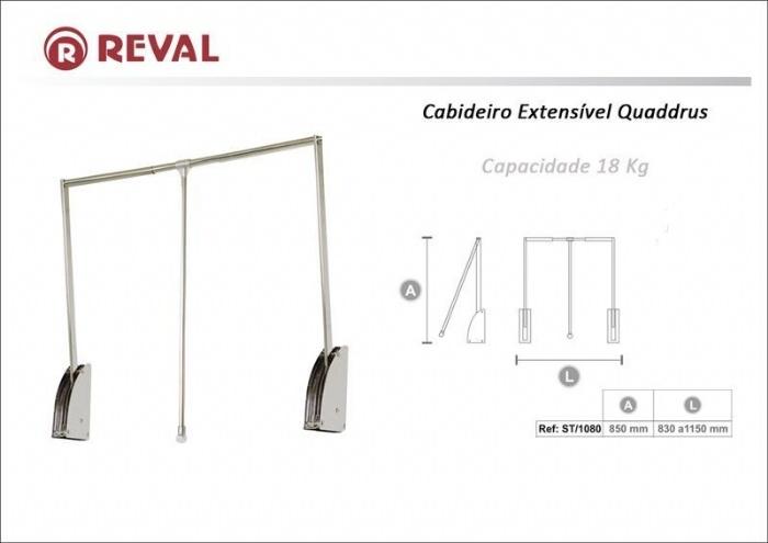 CABIDEIRO EXTENSÍVEL QUADRUS- 830 A 1150MM