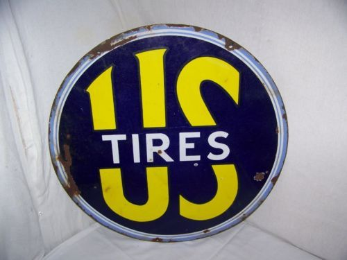 """Vintage C 1940 US Tires 2 Sided 24"""" Porcelain Metal Gas Oil Sign Very Neat…"""
