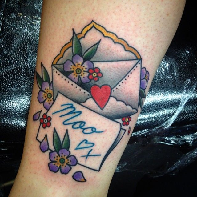 by Cassandra Frances - old school style - old tradicional tattoos - postal letter tattoo