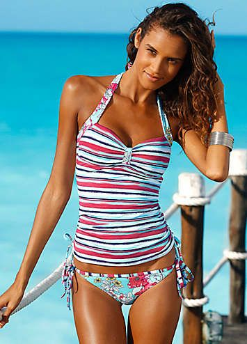 Stylish white tankini top, covered in fresh summer stripes-