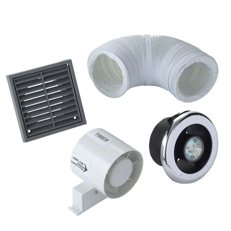 Manrose Vdisl100t Shower Light Bathroom Extractor Fan Kit With Timer D 98mm