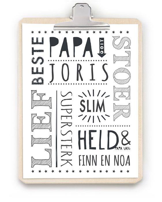 Papa-print met Klembord : Gepersonaliseerde print met houten klembord voor moederdag