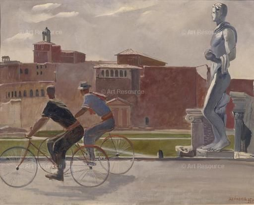 Italian workers travel by bicycle, 1935. Artist: Deineka, Alexander Alexandrovich (1899-1969), Alexander Alexandrovich (1899-1969), Architecture, Arena, Bicycle, Bicycle racing, Cityscape, Colourfulness, CYCLE, CYCLE RACING, CYCLIST, DECORATIVE, Deineka, Deyneka, Fine Art Images, GENRE, Italy, Noon, OIL ON CANVAS, Painting, Medium, ROMAN ARCHITECTURE, ROME, russia, SOVIET ART, SPORT, Summer, sun light, time of day