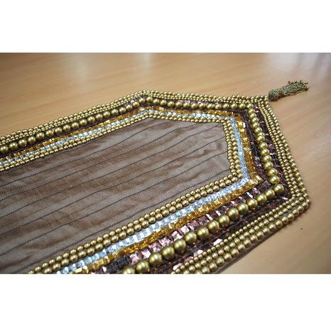 Beaded Table Runner Golden Pearls Sequin Bead Crystal Stone Embroidered X  Pleated Elegant Table Linen Decor Placemats
